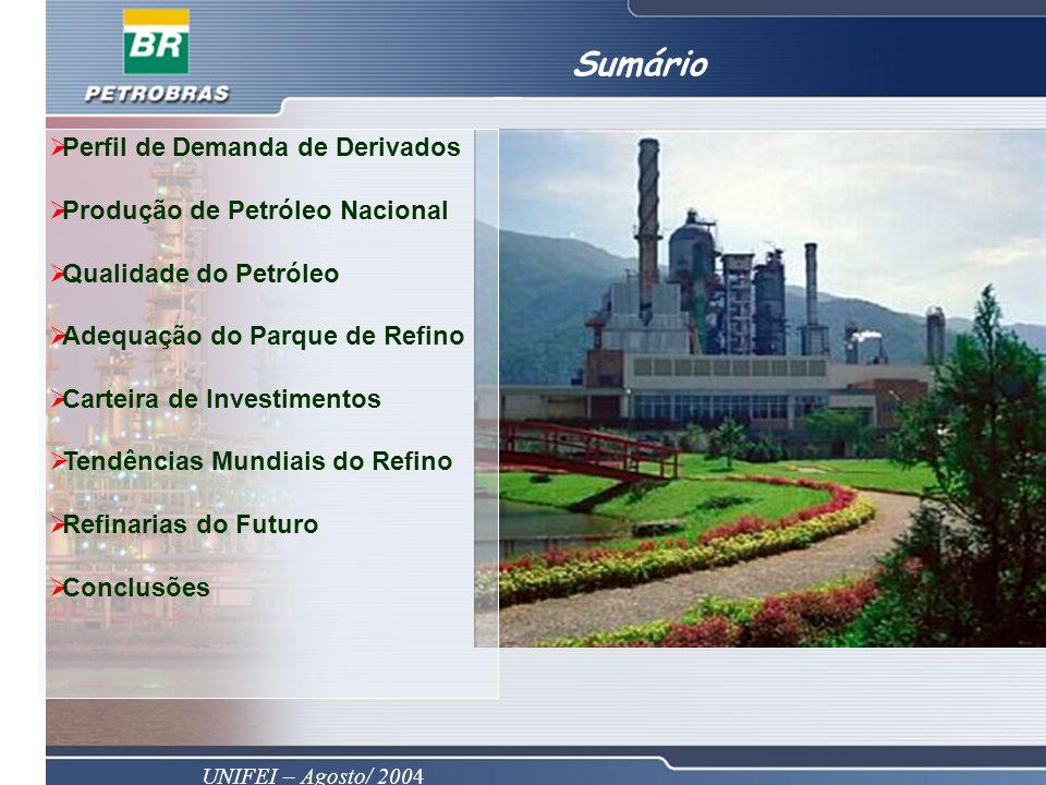 UNIFEI – Agosto/ 2004 Perfil de Demanda de Derivados Produção de Petróleo Nacional Qualidade do Petróleo Adequação do Parque de Refino Carteira de Investimentos Tendências Mundiais do Refino Refinarias do Futuro Conclusões Sumário