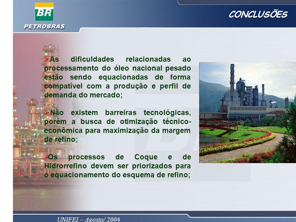 UNIFEI – Agosto/ 2004 CONCLUSÕES As dificuldades relacionadas ao processamento do óleo nacional pesado estão sendo equacionadas de forma compatível co