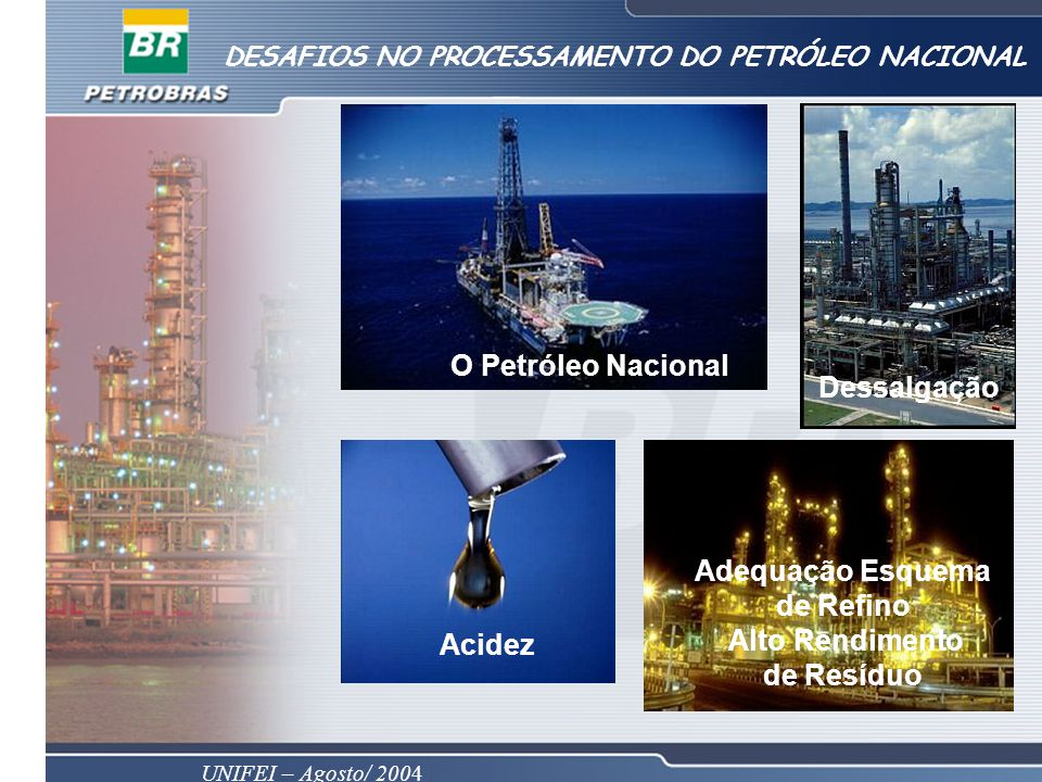 UNIFEI – Agosto/ 2004 DESAFIOS NO PROCESSAMENTO DO PETRÓLEO NACIONAL Adequação Esquema de Refino Alto Rendimento de Resíduo Acidez O Petróleo Nacional Dessalgação