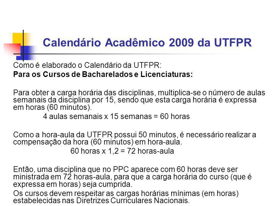 Calendário Acadêmico 2009 da UTFPR Como é elaborado o Calendário da UTFPR: Para os Cursos de Bacharelados e Licenciaturas: Para obter a carga horária das disciplinas, multiplica-se o número de aulas semanais da disciplina por 15, sendo que esta carga horária é expressa em horas (60 minutos).
