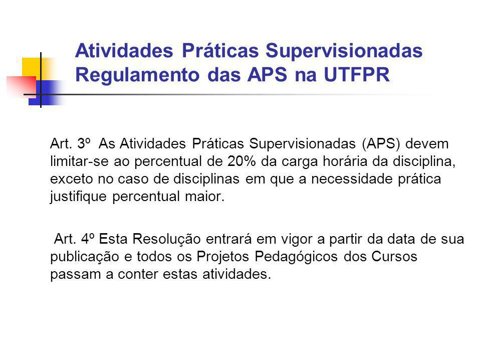 Atividades Práticas Supervisionadas Regulamento das APS na UTFPR Art.