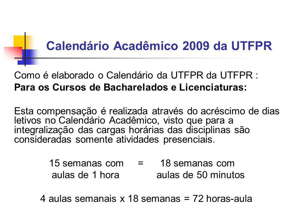 Calendário Acadêmico 2009 da UTFPR Como é elaborado o Calendário da UTFPR da UTFPR : Para os Cursos de Bacharelados e Licenciaturas: Esta compensação é realizada através do acréscimo de dias letivos no Calendário Acadêmico, visto que para a integralização das cargas horárias das disciplinas são consideradas somente atividades presenciais.