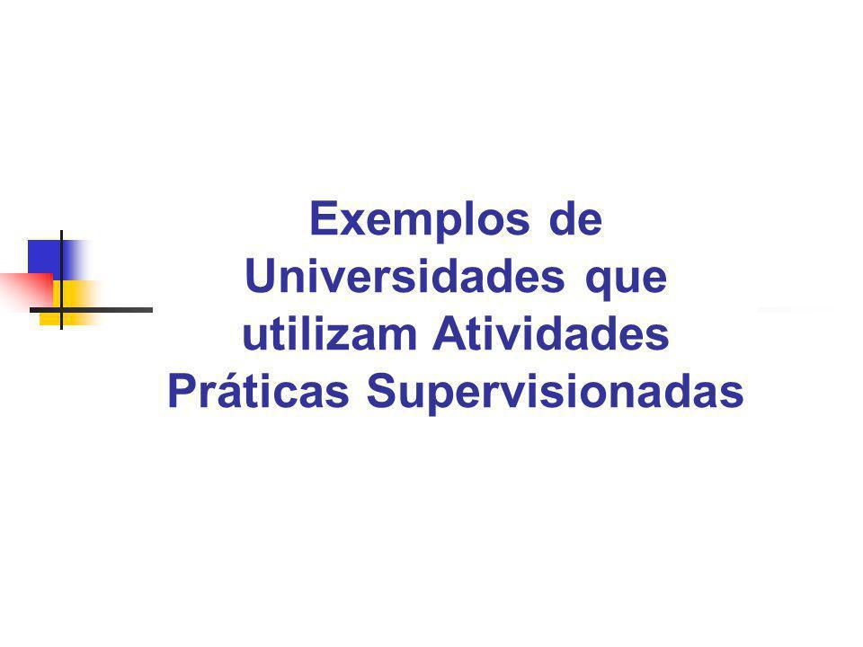 Exemplos de Universidades que utilizam Atividades Práticas Supervisionadas