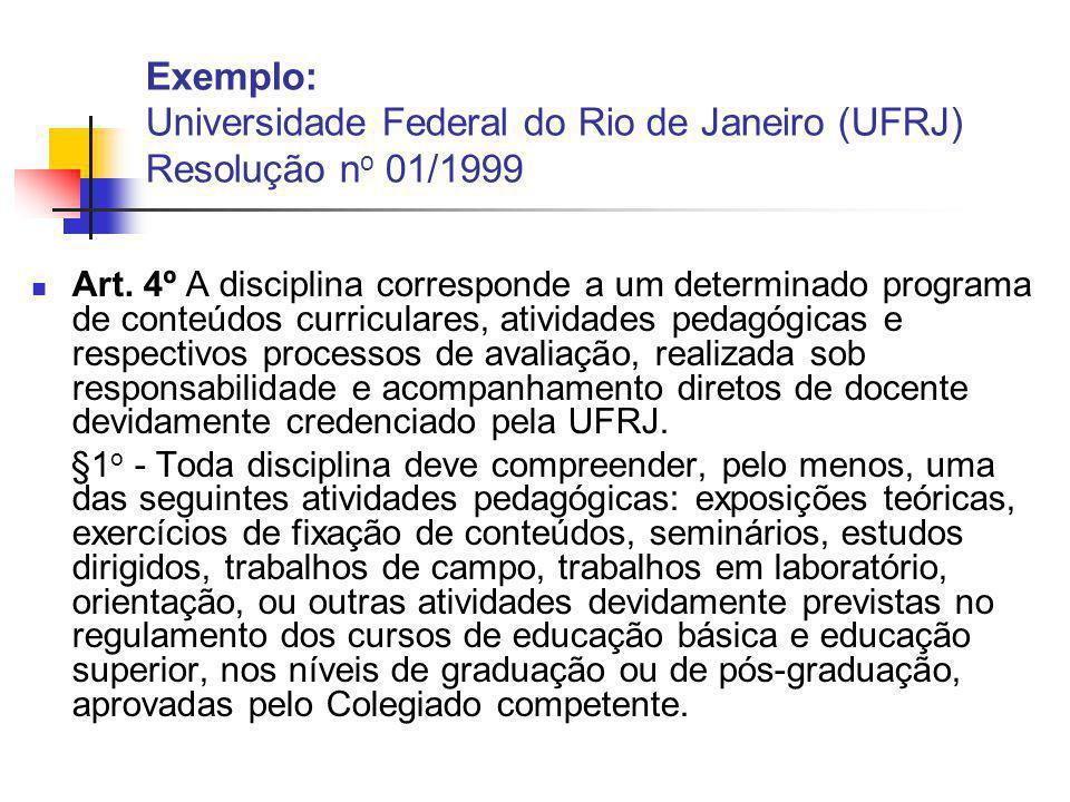 Exemplo: Universidade Federal do Rio de Janeiro (UFRJ) Resolução n o 01/1999 Art.