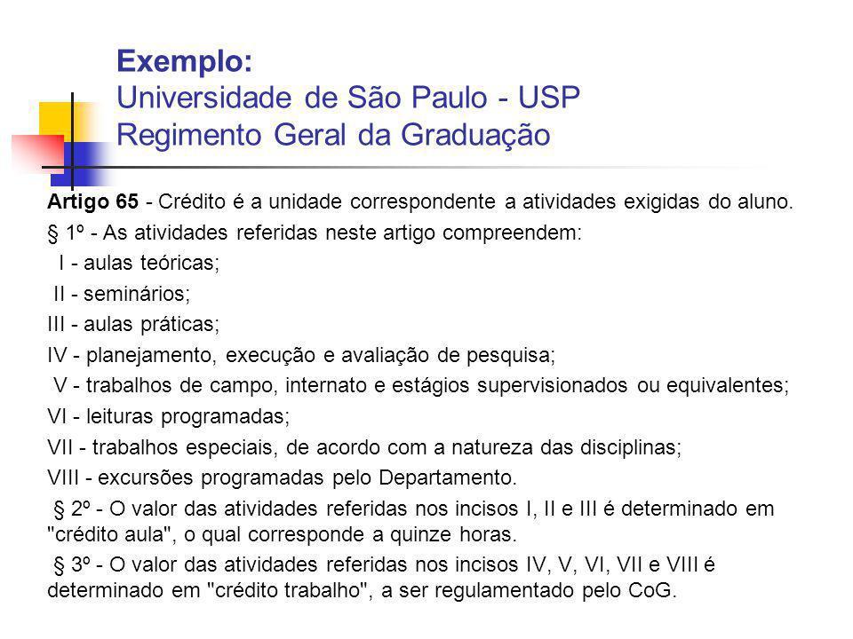 Exemplo: Universidade de São Paulo - USP Regimento Geral da Graduação Artigo 65 - Crédito é a unidade correspondente a atividades exigidas do aluno.