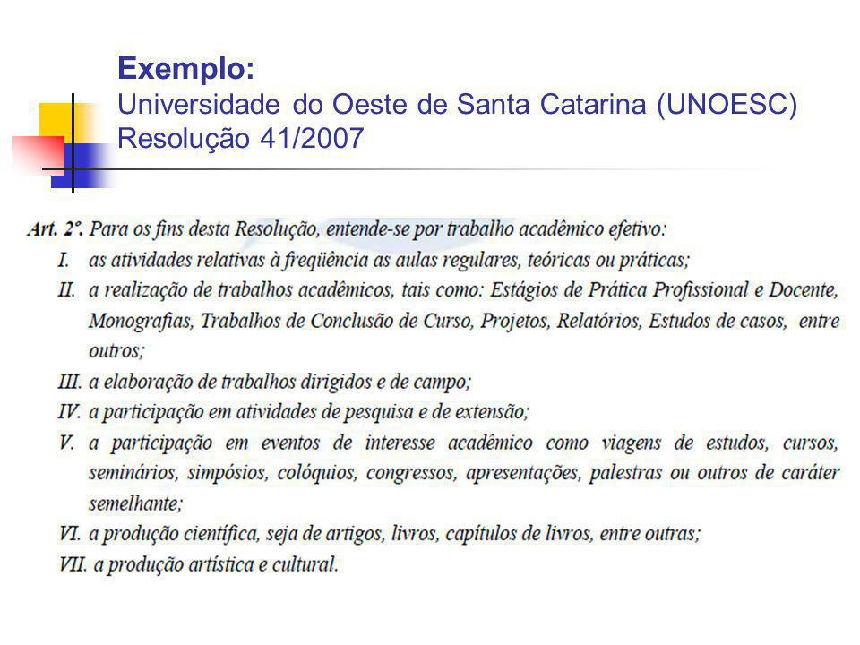 Exemplo: Universidade do Oeste de Santa Catarina (UNOESC) Resolução 41/2007