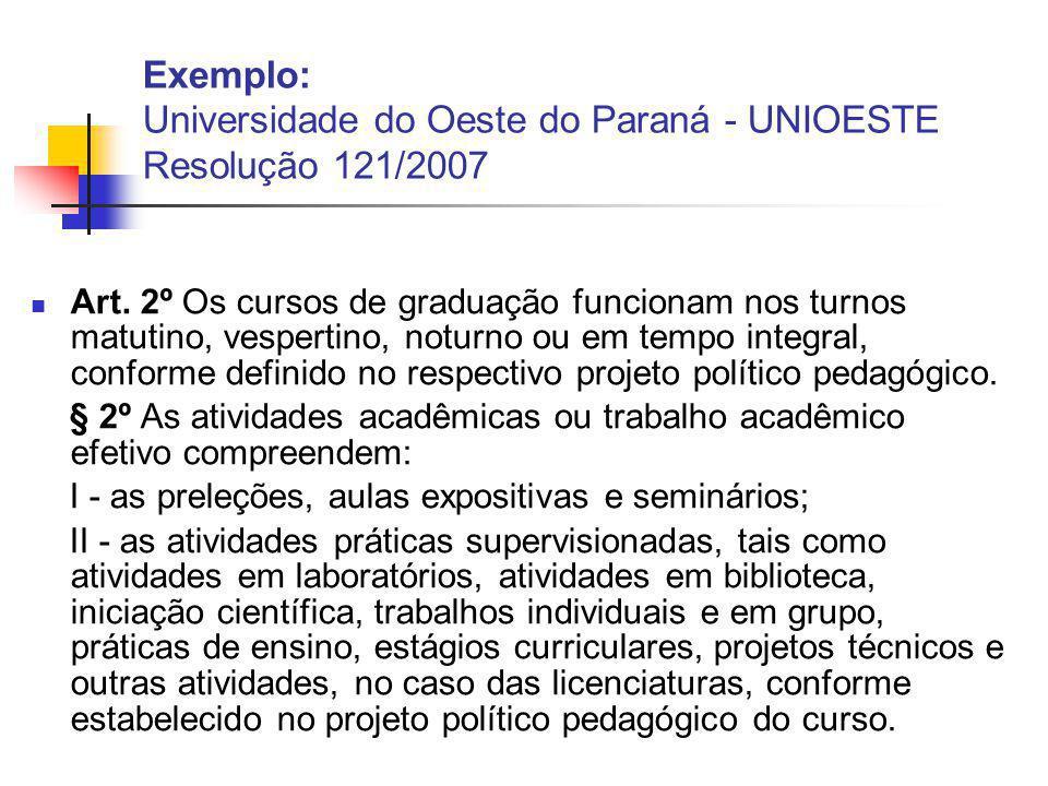 Exemplo: Universidade do Oeste do Paraná - UNIOESTE Resolução 121/2007 Art.