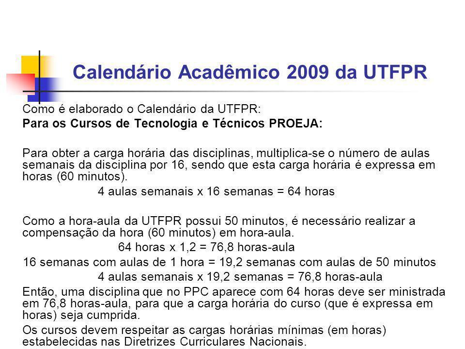 Calendário Acadêmico 2009 da UTFPR Como é elaborado o Calendário da UTFPR: Para os Cursos de Tecnologia e Técnicos PROEJA: Para obter a carga horária das disciplinas, multiplica-se o número de aulas semanais da disciplina por 16, sendo que esta carga horária é expressa em horas (60 minutos).