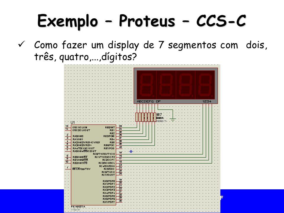 Universidade Federal do Vale do São Francisco - UNIVASF Colegiado de Engenharia da Computação – CECOMP Exemplo – Proteus – CCS-C Como fazer um display de 7 segmentos com dois, três, quatro,...,dígitos?