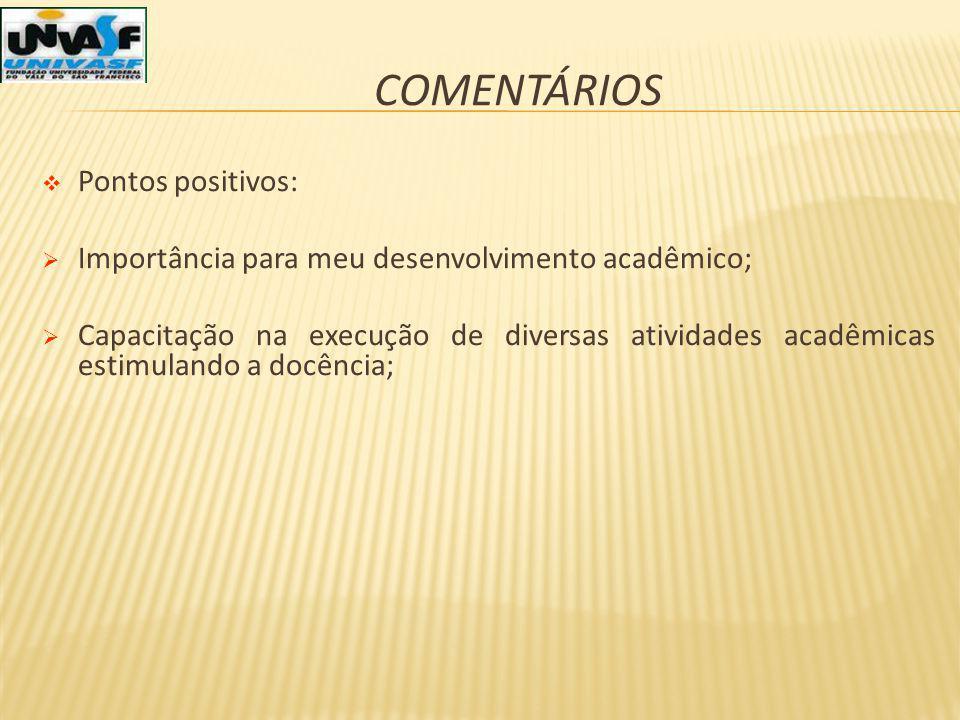 COMENTÁRIOS Pontos positivos: Importância para meu desenvolvimento acadêmico; Capacitação na execução de diversas atividades acadêmicas estimulando a