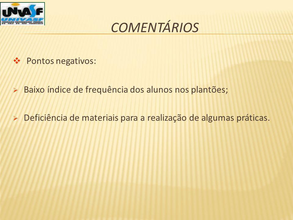 COMENTÁRIOS Pontos negativos: Baixo índice de frequência dos alunos nos plantões; Deficiência de materiais para a realização de algumas práticas.