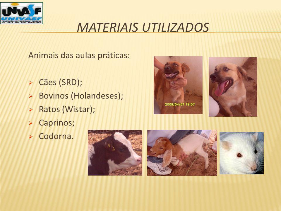 MATERIAIS UTILIZADOS Animais das aulas práticas: Cães (SRD); Bovinos (Holandeses); Ratos (Wistar); Caprinos; Codorna.