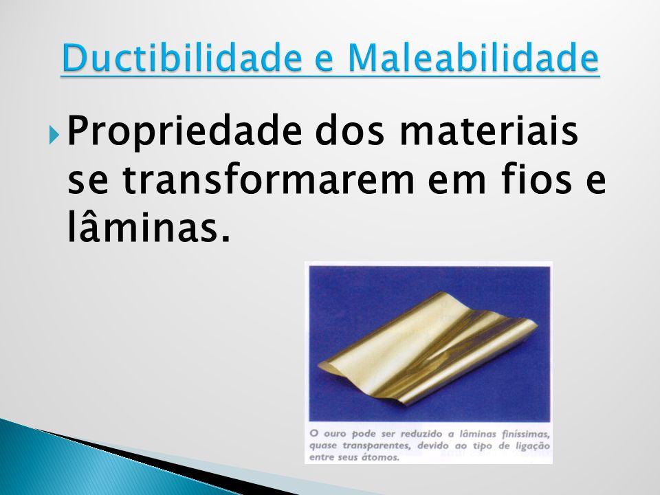 Propriedade dos materiais se transformarem em fios e lâminas.