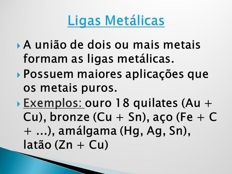 A união de dois ou mais metais formam as ligas metálicas. Possuem maiores aplicações que os metais puros. Exemplos: ouro 18 quilates (Au + Cu), bronze
