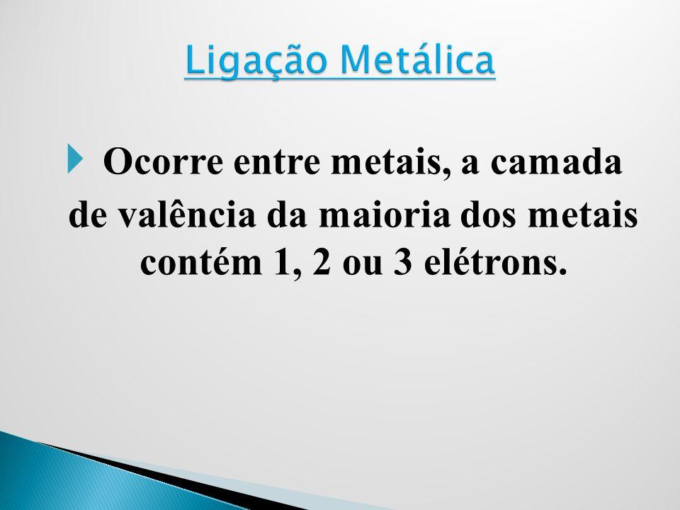 Ocorre entre metais, a camada de valência da maioria dos metais contém 1, 2 ou 3 elétrons.