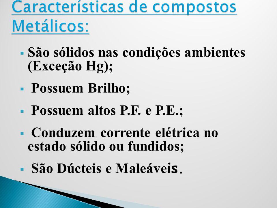 São sólidos nas condições ambientes (Exceção Hg); Possuem Brilho; Possuem altos P.F. e P.E.; Conduzem corrente elétrica no estado sólido ou fundidos;