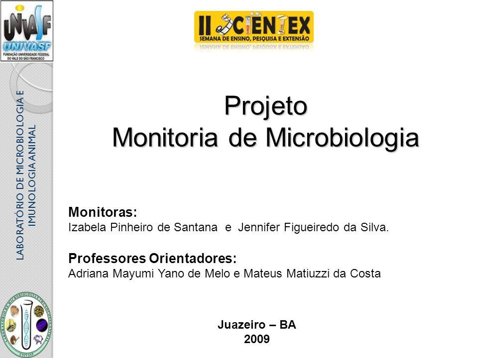 LABORATÓRIO DE MICROBIOLOGIA E IMUNOLOGIA ANIMAL Projeto Monitoria de Microbiologia Monitoras: Izabela Pinheiro de Santana e Jennifer Figueiredo da Si