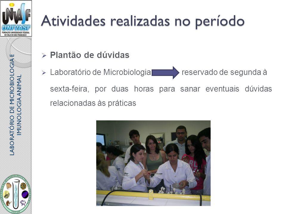 LABORATÓRIO DE MICROBIOLOGIA E IMUNOLOGIA ANIMAL Atividades realizadas no período Plantão de dúvidas Laboratório de Microbiologia reservado de segunda