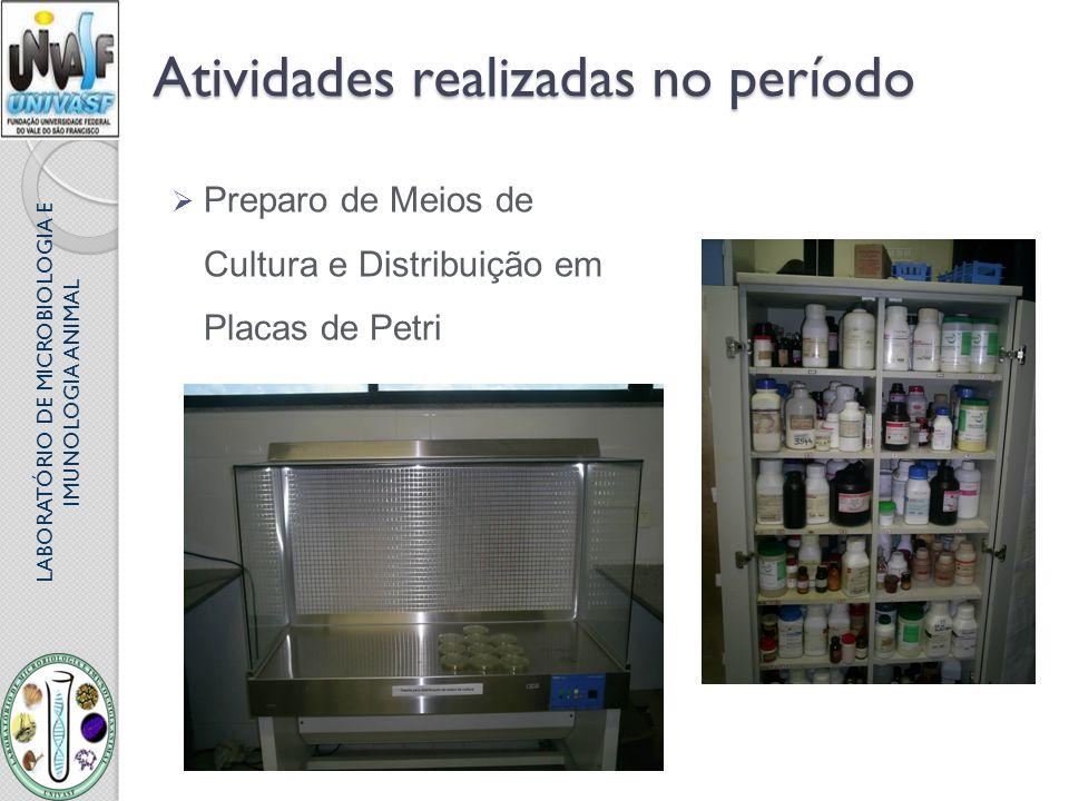 LABORATÓRIO DE MICROBIOLOGIA E IMUNOLOGIA ANIMAL Atividades realizadas no período Preparo de Meios de Cultura e Distribuição em Placas de Petri
