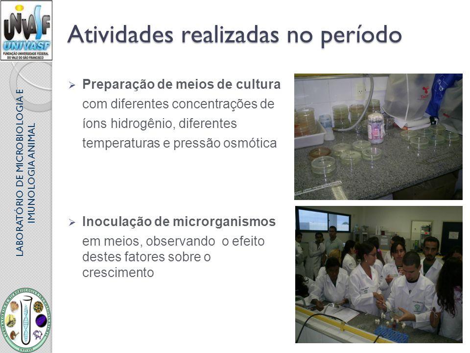 LABORATÓRIO DE MICROBIOLOGIA E IMUNOLOGIA ANIMAL Atividades realizadas no período Preparação de meios de cultura com diferentes concentrações de íons