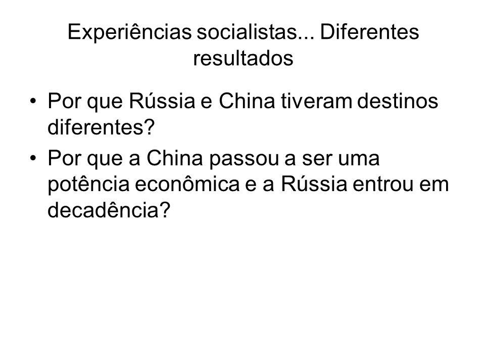 Experiências socialistas... Diferentes resultados Por que Rússia e China tiveram destinos diferentes? Por que a China passou a ser uma potência econôm