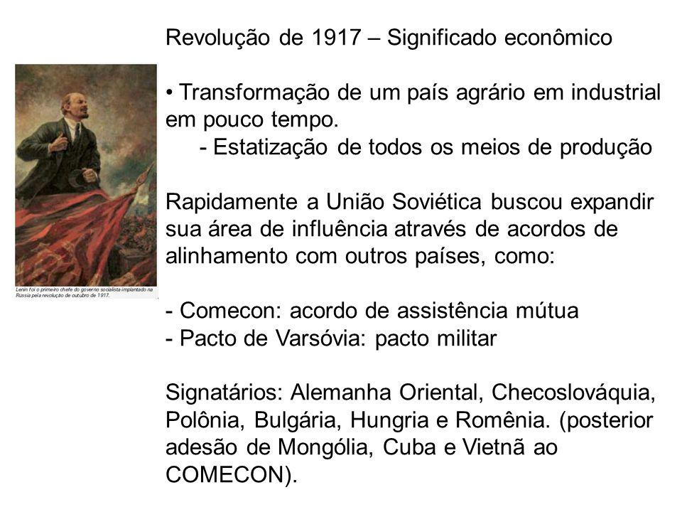 Revolução de 1917 – Significado econômico Transformação de um país agrário em industrial em pouco tempo. - Estatização de todos os meios de produção R