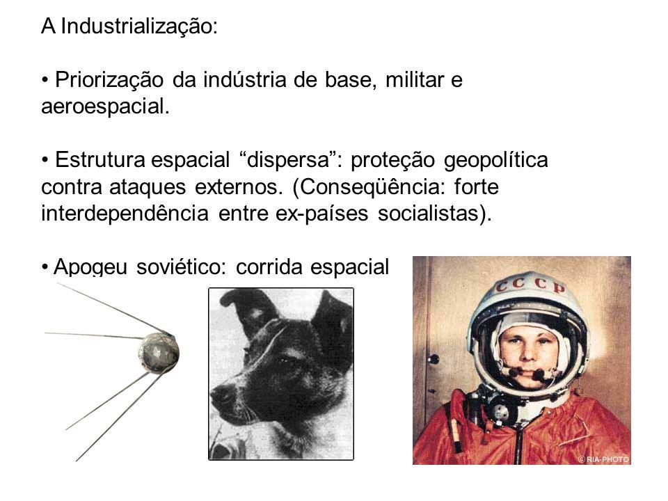 A Industrialização: Priorização da indústria de base, militar e aeroespacial. Estrutura espacial dispersa: proteção geopolítica contra ataques externo