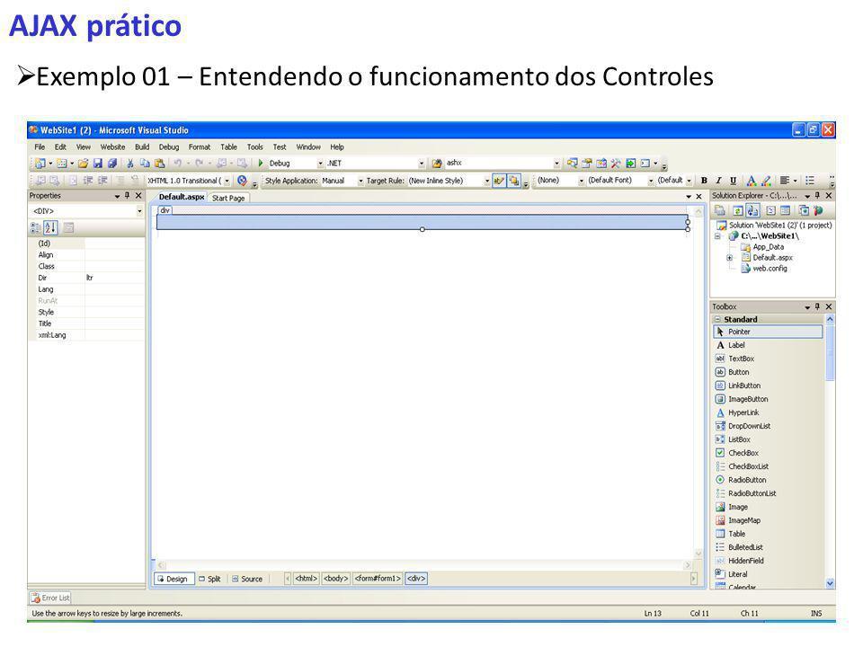 AJAX prático Exemplo 01 – Entendendo o funcionamento dos Controles