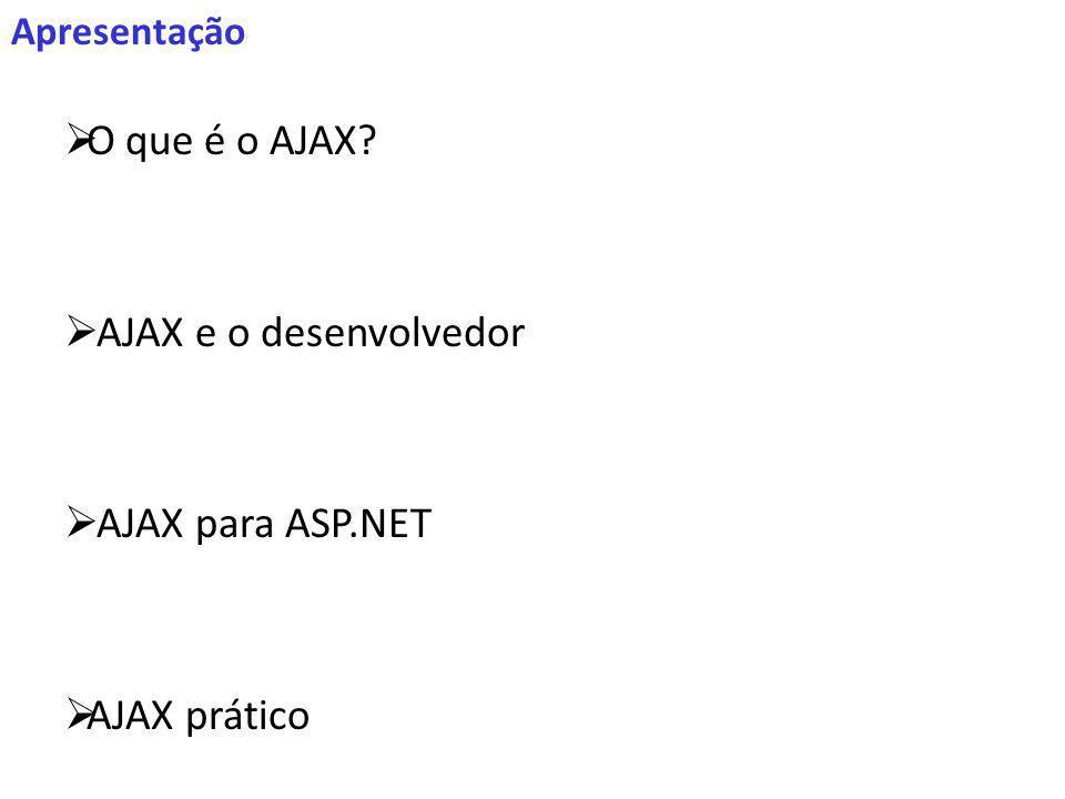 Apresentação O que é o AJAX? AJAX e o desenvolvedor AJAX para ASP.NET AJAX prático