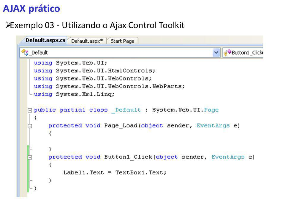 AJAX prático Exemplo 03 - Utilizando o Ajax Control Toolkit