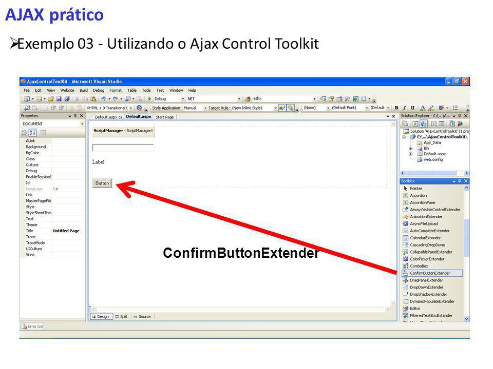 AJAX prático Exemplo 03 - Utilizando o Ajax Control Toolkit ConfirmButtonExtender