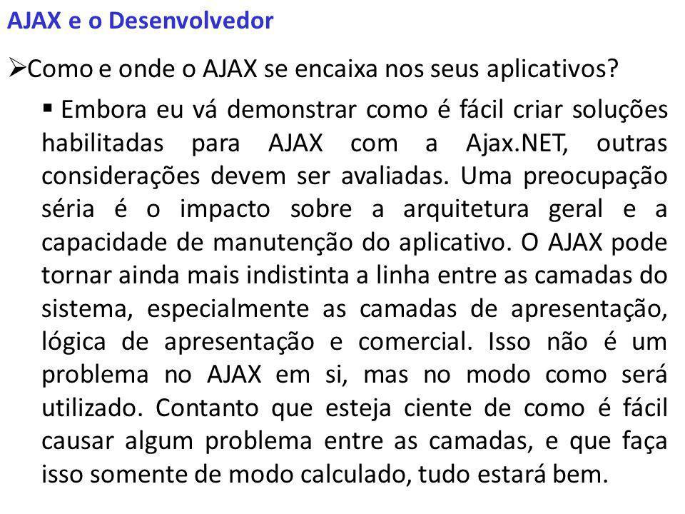 AJAX e o Desenvolvedor Como e onde o AJAX se encaixa nos seus aplicativos.