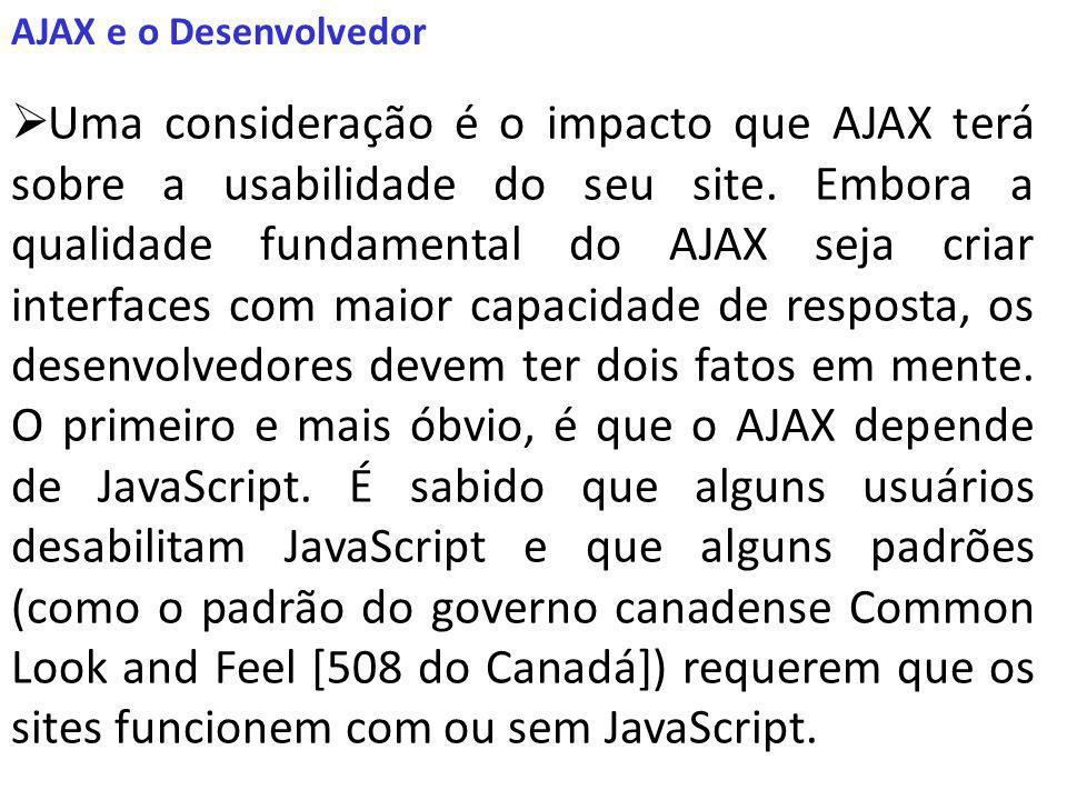 AJAX e o Desenvolvedor Uma consideração é o impacto que AJAX terá sobre a usabilidade do seu site.