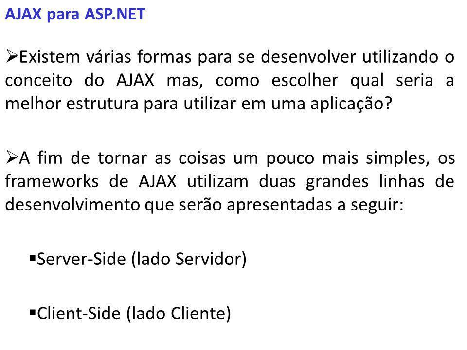 AJAX para ASP.NET Existem várias formas para se desenvolver utilizando o conceito do AJAX mas, como escolher qual seria a melhor estrutura para utilizar em uma aplicação.