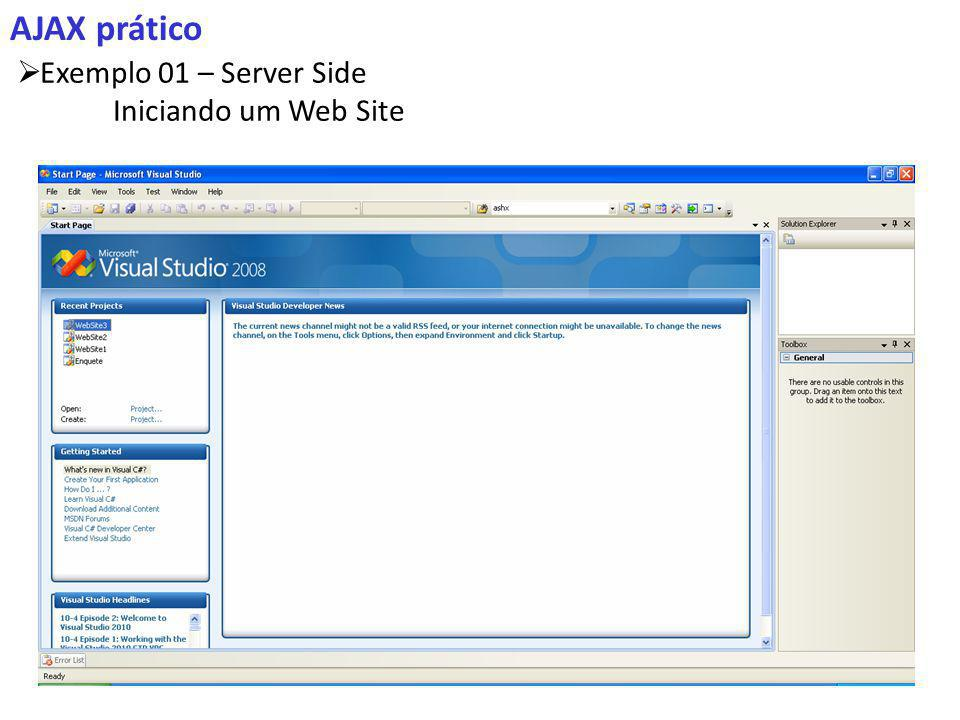AJAX prático Exemplo 01 – Server Side Iniciando um Web Site