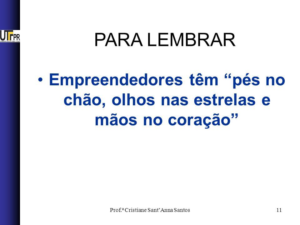 Prof.ª Cristiane SantAnna Santos11 Empreendedores têm pés no chão, olhos nas estrelas e mãos no coração PARA LEMBRAR