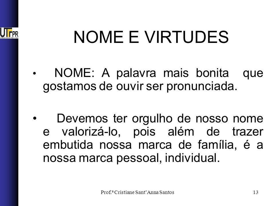 Prof.ª Cristiane SantAnna Santos13 NOME E VIRTUDES NOME: A palavra mais bonita que gostamos de ouvir ser pronunciada.