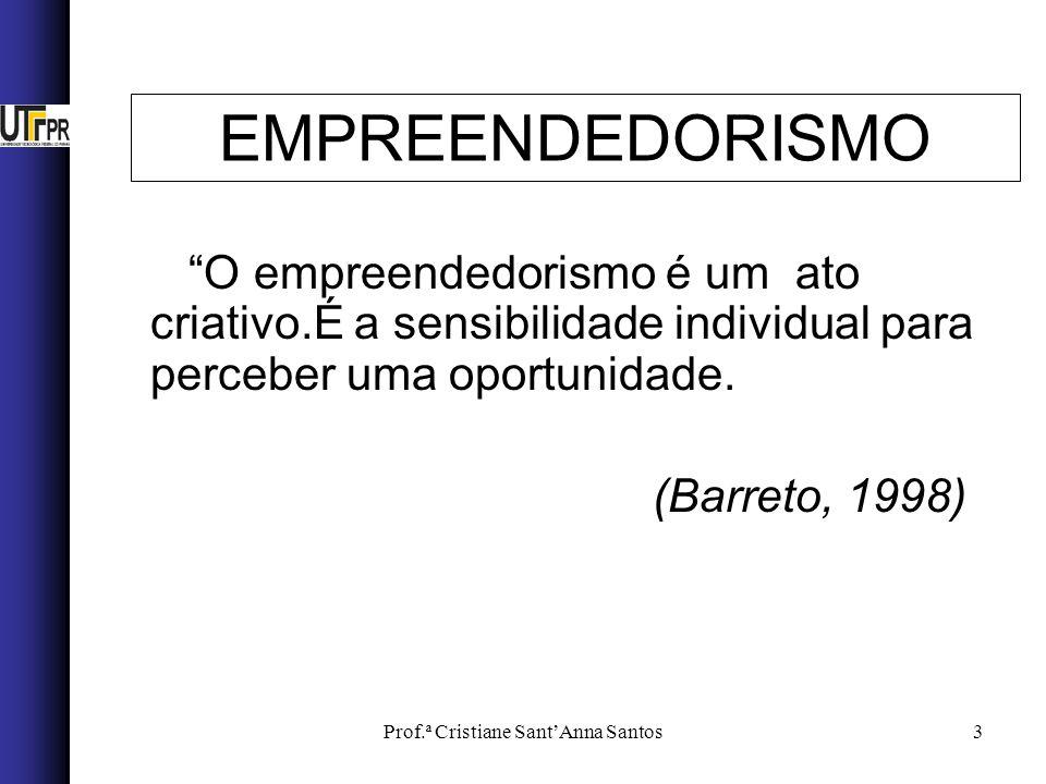 Prof.ª Cristiane SantAnna Santos3 EMPREENDEDORISMO O empreendedorismo é um ato criativo.É a sensibilidade individual para perceber uma oportunidade. (