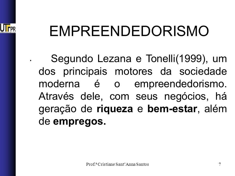 Prof.ª Cristiane SantAnna Santos7 Segundo Lezana e Tonelli(1999), um dos principais motores da sociedade moderna é o empreendedorismo. Através dele, c