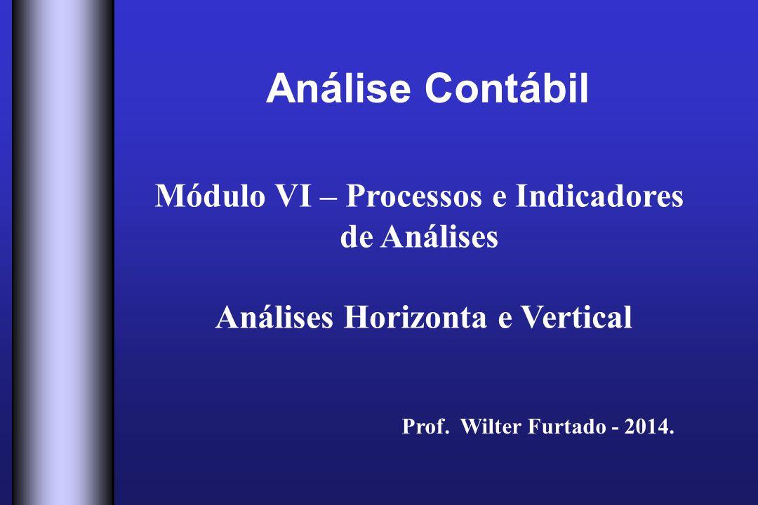 Análise Contábil Módulo VI – Processos e Indicadores de Análises Análises Horizonta e Vertical Prof. Wilter Furtado - 2014.