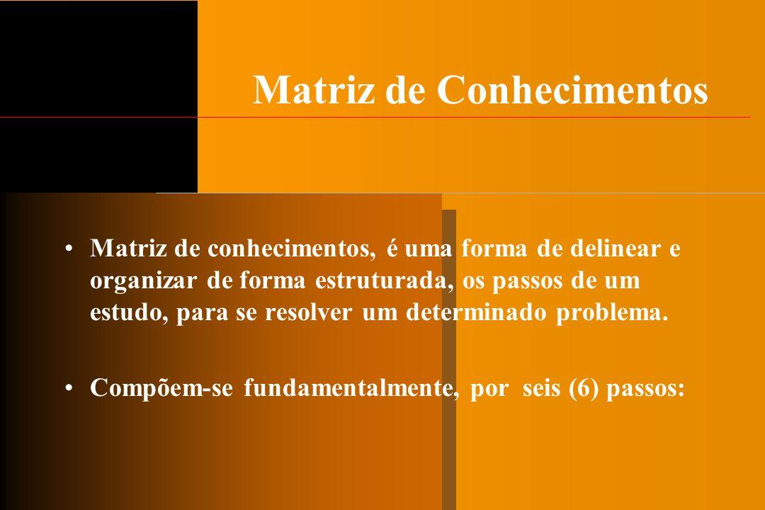 Matriz de Conhecimentos Matriz de conhecimentos, é uma forma de delinear e organizar de forma estruturada, os passos de um estudo, para se resolver um