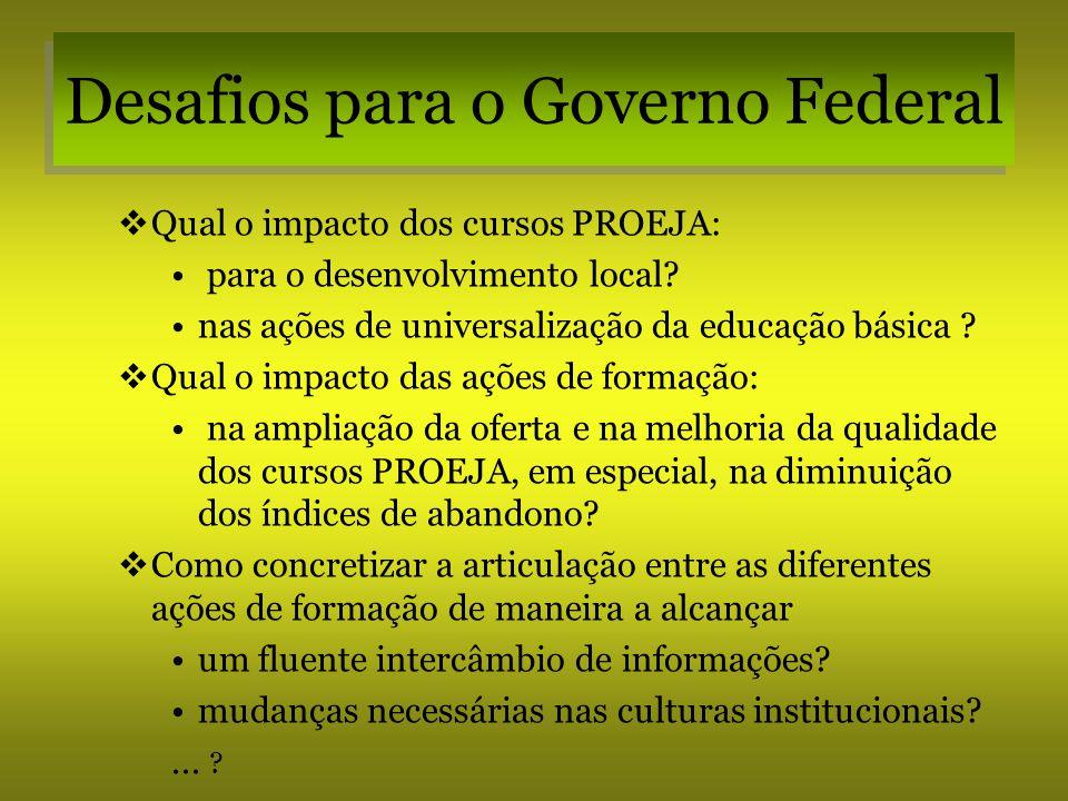 Desafios para o Governo Federal Qual o impacto dos cursos PROEJA: para o desenvolvimento local? nas ações de universalização da educação básica ? Qual
