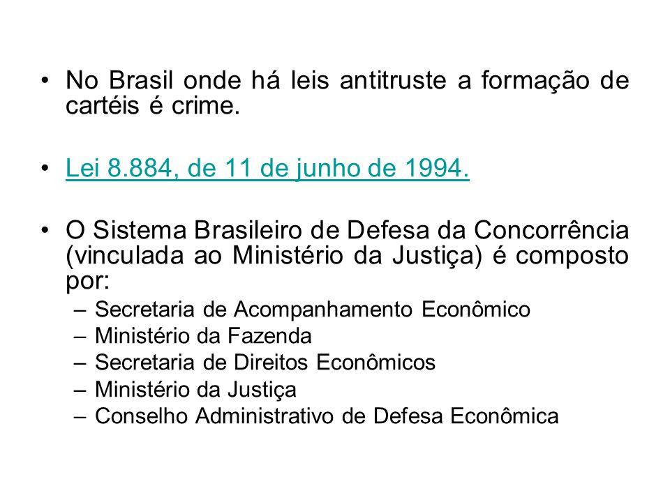 No Brasil onde há leis antitruste a formação de cartéis é crime. Lei 8.884, de 11 de junho de 1994.Lei 8.884, de 11 de junho de 1994. O Sistema Brasil