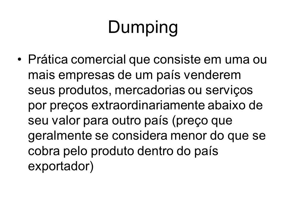 Dumping Prática comercial que consiste em uma ou mais empresas de um país venderem seus produtos, mercadorias ou serviços por preços extraordinariamen