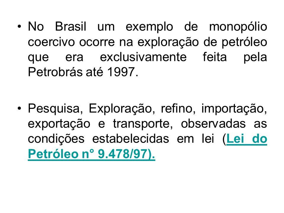 No Brasil um exemplo de monopólio coercivo ocorre na exploração de petróleo que era exclusivamente feita pela Petrobrás até 1997. Pesquisa, Exploração