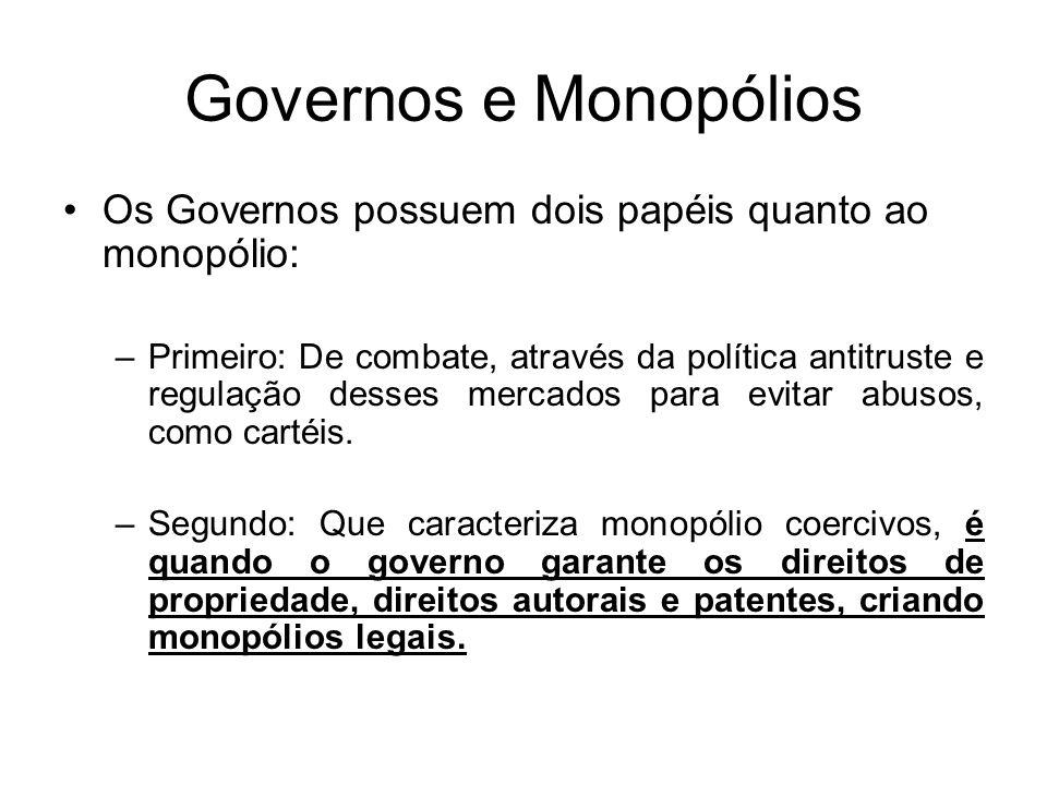 Governos e Monopólios Os Governos possuem dois papéis quanto ao monopólio: –Primeiro: De combate, através da política antitruste e regulação desses me