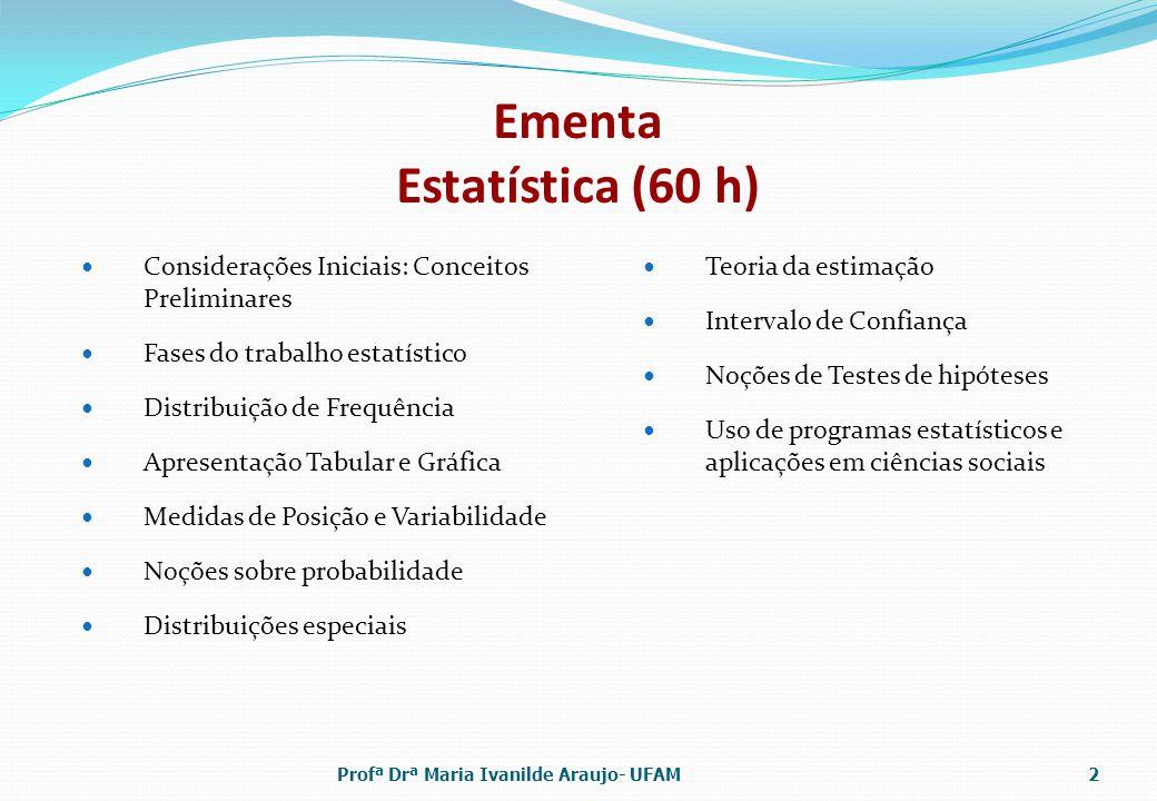 Bibliografia M.I. Araújo e A. A. Balieiro, Apostila de Bioestatística.