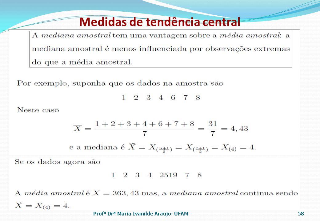 Medidas de tendência central Profª Drª Maria Ivanilde Araujo- UFAM58