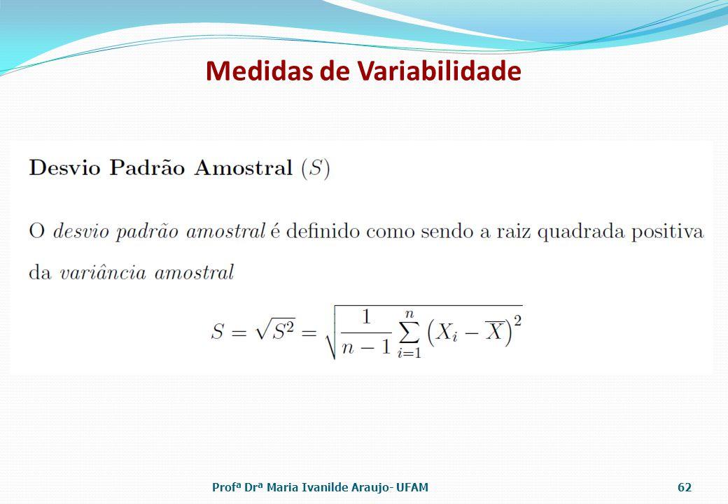 Medidas de Variabilidade Profª Drª Maria Ivanilde Araujo- UFAM62