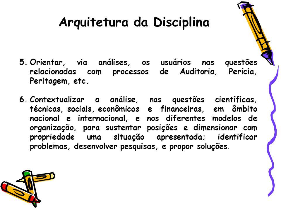 Arquitetura da Disciplina 5.Orientar, via análises, os usuários nas questões relacionadas com processos de Auditoria, Perícia, Peritagem, etc. 6.Conte